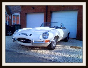 E Type Jaguar outside