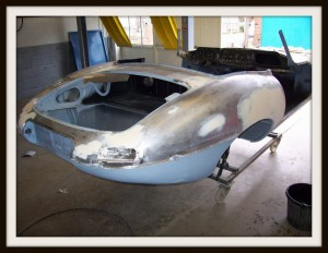 E Type Jaguar paint preperation